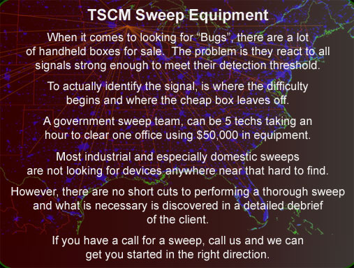 Wisconsin tscm equipment support